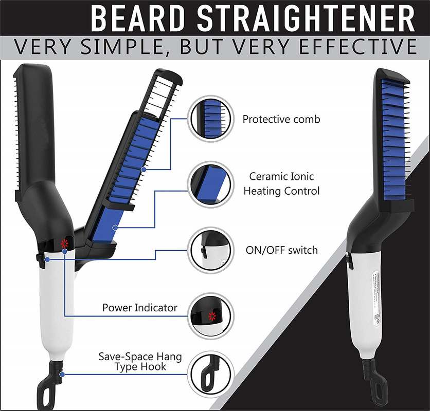 Hair Comb Brush Beard Straightener  With Electric Beard Straightening Comb For Man 4