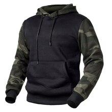 Hoodies Men Camo-Clothing Sweatshirts Tactical Pullover Fleece Loose Casual Patchwork