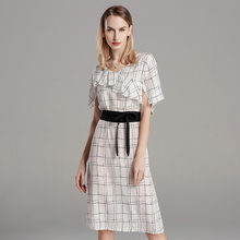 white plaid silk dresses women 2020 summer long casual office work beach party dress plus size long sleeve slim dropship(China)