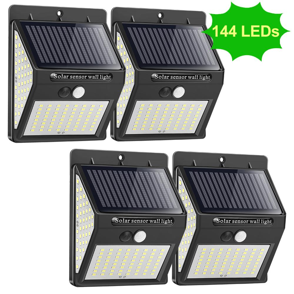 144 100 LED Solar Light Outdoors Solar Lamp Waterproof Sunlight PIR Motion Sensor Solar Garden Light Focus for Garden Decoration