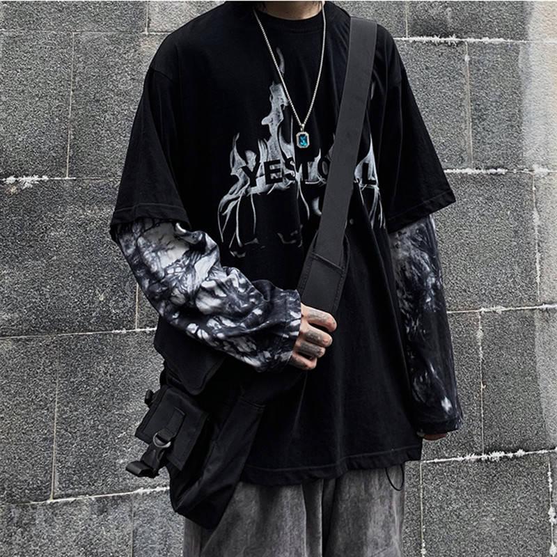 Black Hip Hop T-Shirt Mens Casual Autumn Tops Tee Fake Two Pieces Long Sleeve Men T Shirt Fashion Japan Tshirt Streetwear Boys
