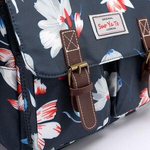 Image 5 - Bolso de hombro con estampado de flores para mujer, bandolera de nailon resistente al agua, Retro