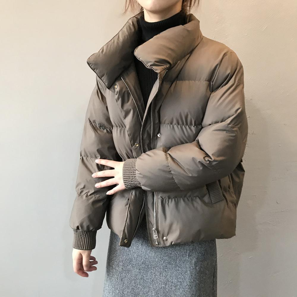 2020 Winter Jacket Women Streetwear Polyester Zipper Padded Coat Korean Style Mujer Parkas Autumn Jaqueta Feminina 1