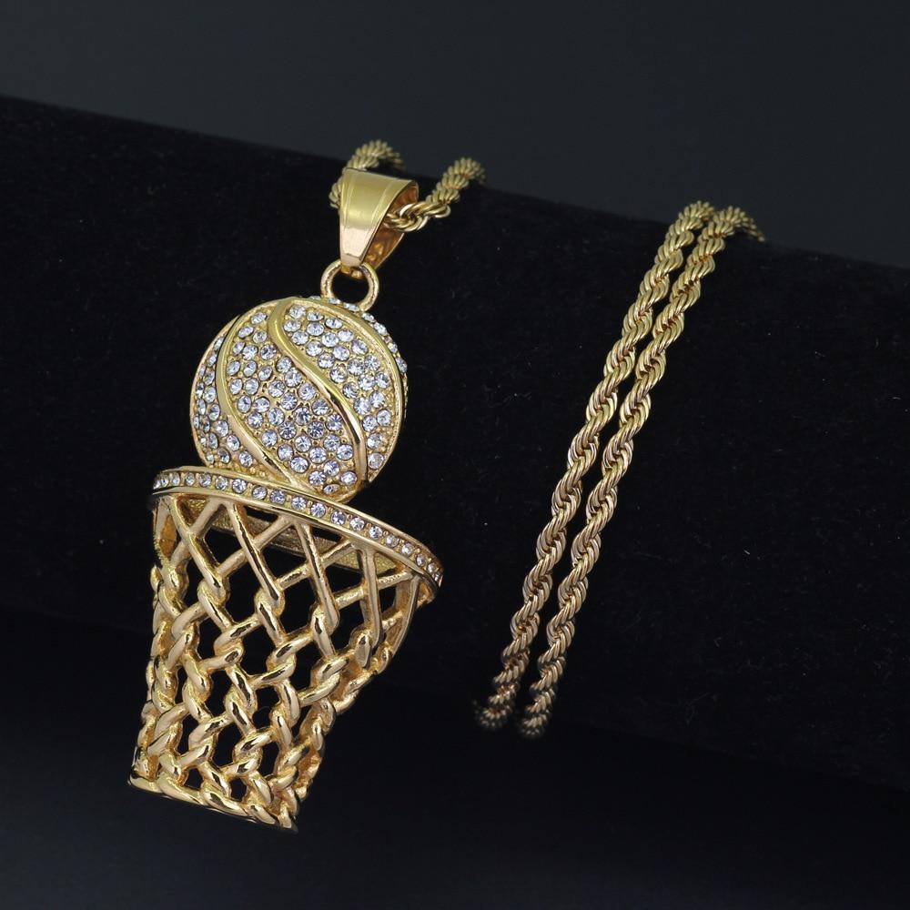 Fashion Hip-Hop Basketball Frame Men necklace Zircon Gold / Silver Color Pendant Steel Necklace Men Basketball Sports Jewelry