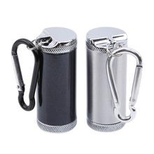 Storage-Bottle Mini Ashtray Portable Cover Sealed-Can-Keychain Metal with Carry-On Pure-Steel