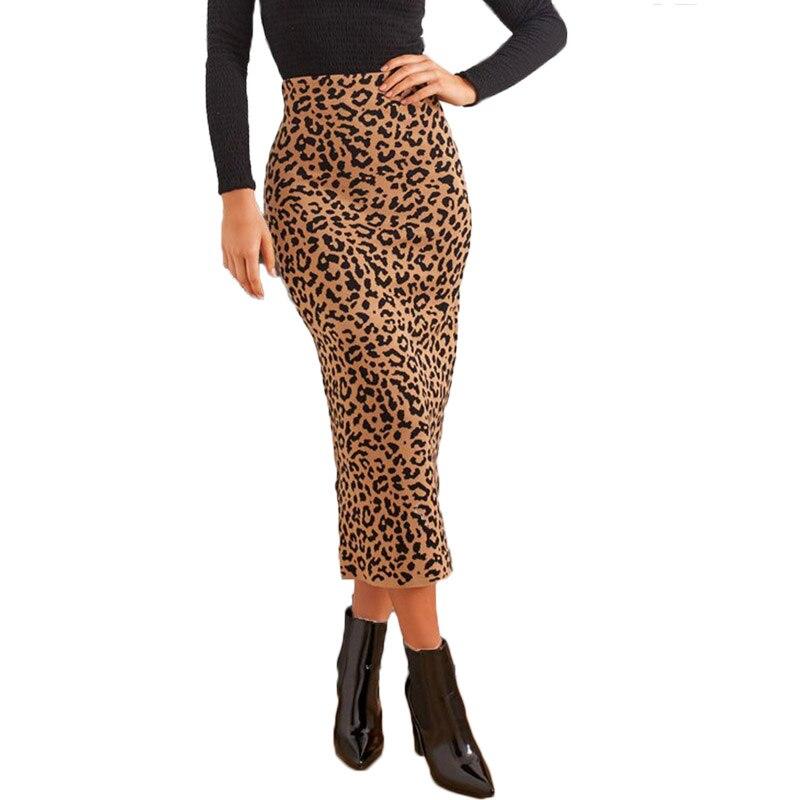 Женские леопардовые юбки карандаш с высокой талией, повседневные леопардовые юбки карандаш, лето 2019|Юбки|   | АлиЭкспресс