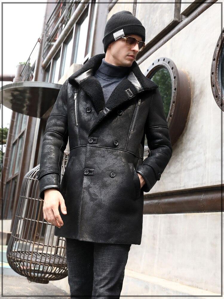 Real Genuine Leather Jacket Men Winter Vintage Sheepskin Coat Shearling Jacket Natural Wool Fur Coats 7121-1 KJ3288