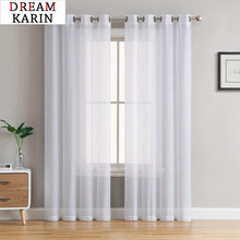 Modern Solid Color Tulle Curtains For Living Room Bedroom White Sheer Cortinas For Window Linen Curtains Drapes 1 piece panels cheap DREAM KARIN Translucidus (Shading Rate 1 -40 ) Left and Right Biparting Open Ceiling Installation Yarn Dyed Flat Window