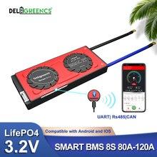 BMS intelligent 8S 80A 100A 120A avec application Bluetooth UART 485, batterie LiFePO4 24v, cellules nominales 3.2V pour camping-car