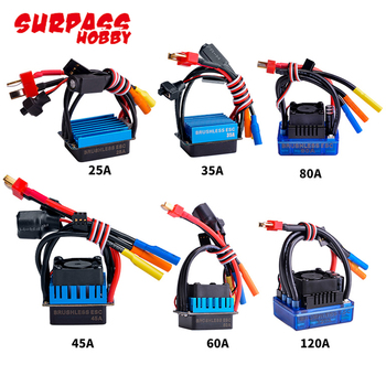 25A/35A/45A/60A/80A/120A Waterproof Senseless Brushless Speed Controller For 1/8 1/10 1/12 RC Car Crawler RC Boat hobbywing ezrun max10 120a 2 4s waterproof brushless esc speed controller 6v 7 4v bec output for 1 10 rc car truck monster scts