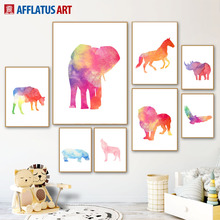Watercolor Lion Elephant Deer Wolf Eagle Animal Nordic Posters And Prints Wall Art Canvas Painting Pictures Kids Room Decor