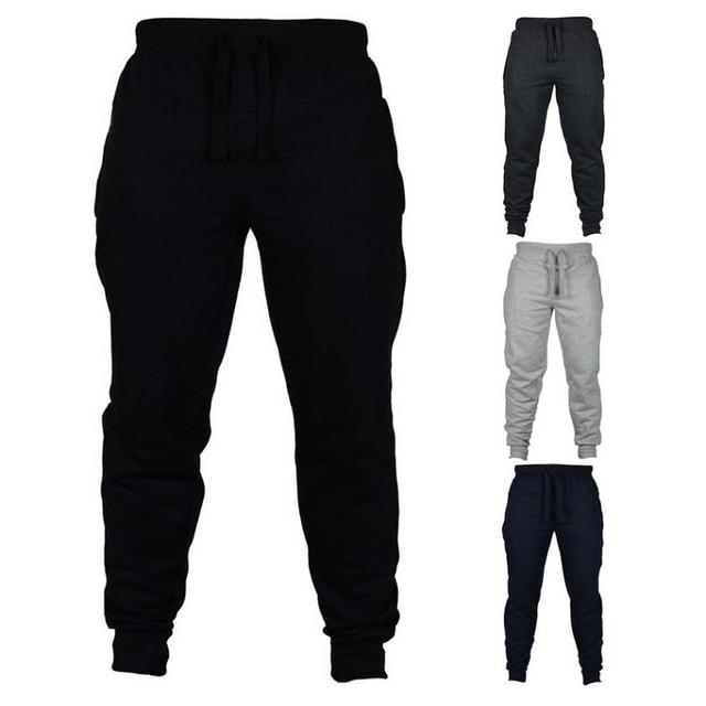 Jogging Casual Hombre Pantalones de aptitud de los hombres ropa deportiva pantalones de chándal ajustados pantalones de chándal Pantalones negro gimnasios Jogger Pantalones 4