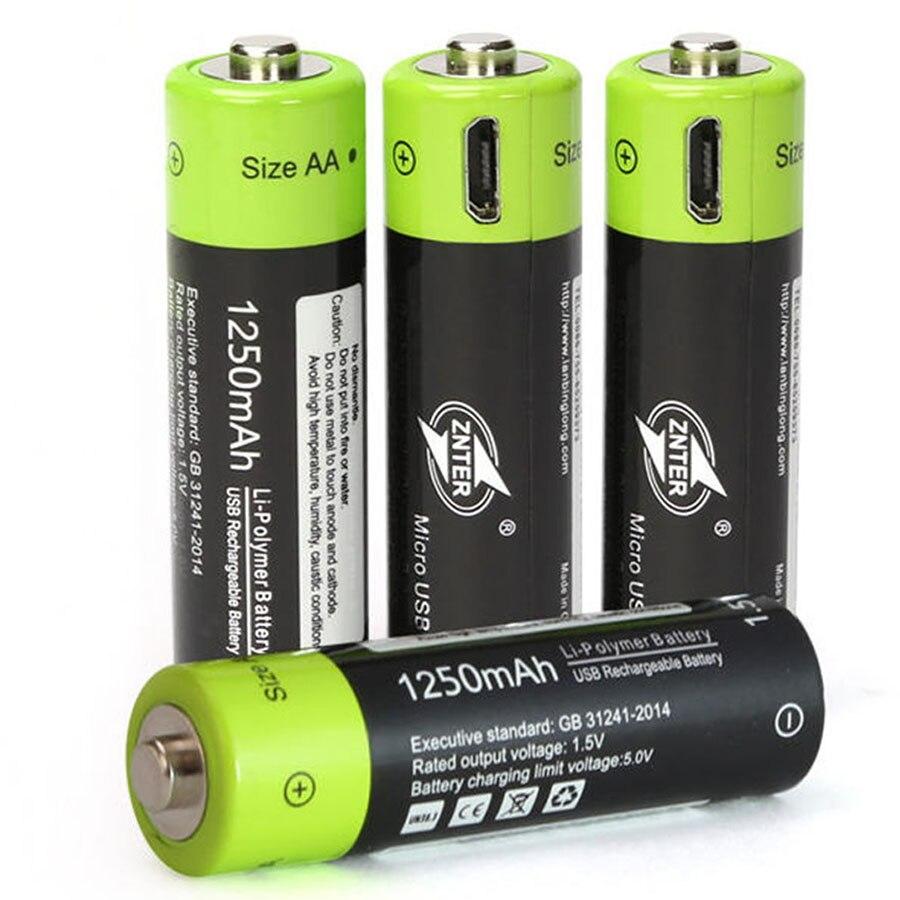 Bateria recarregável do polímero do lítio do elevado grau usb bateria aa 1.5 v 1250 mah znt5 batteies universais carregados pelo cabo micro usb