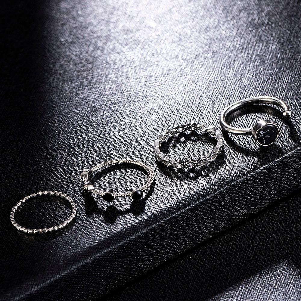 4 stücke Schwarz Wulst Wasser Muster Ring Öffnende Einstellbare Mode Jewerly Klassische Ringe für Frauen Männer Valentinstag Geschenk