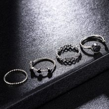 4pcs Black Bead Water Pattern Ring Openable Adjustable Fashion Jewerly Classic Rings for Women Men Valentines Day Gift