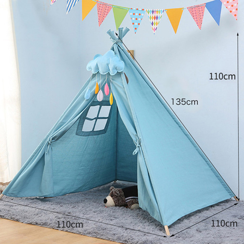11 Types Children's Tent Teepee Large Unbleached Canvas Original Kids Teepee Folding Indoor Baby Game House India Triangle Tent