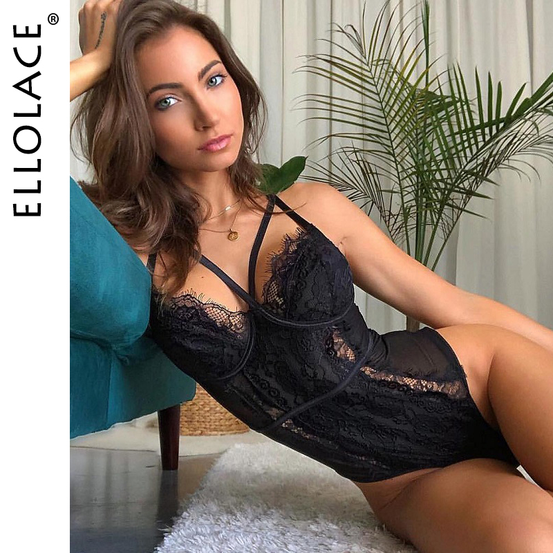 Ellolace Lace Black Bodysuit Women Sexy Transparent Rompers Female Bodycon Body Push Up Overalls Femme Bodysuits For Women