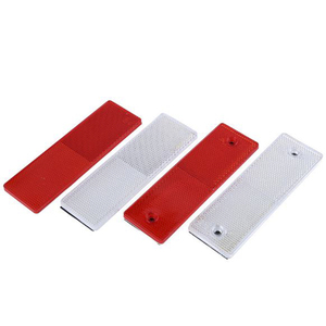 1PC Truck Motorcycle Adhesive Rectangle Plastic Reflector Reflective Warning Plate Stickers Safety Sign Red/White