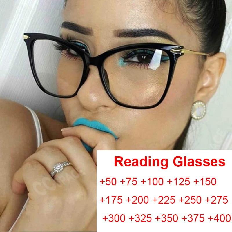 Mode oeil de chat femmes lunettes de lecture lentille de prescription surdimensionné femmes lunettes transparentes lecteurs âgés montures de lunettes