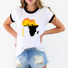 Novelty Africa Map tee love home print graphic T shirts for