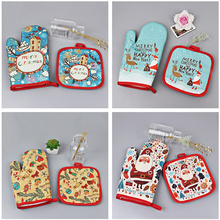 2pcs/set Christmas Baking gloves Christmas Decoration for Home Christmas 2020 Navidad Ornament Gift New Year 2021 Noel Xmas Gift