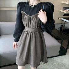 Женское плиссированное платье в стиле пэчворк новое осеннее