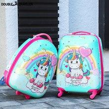 Crianças mala de viagem 16'1818inch carry ons bagagem trole caso para meninas meninos presente cabine rolando bagagem spinner bonito dos desenhos animados