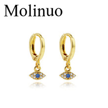 Molinuo new exquisite popular colorful cubic zirconia eye pendant earrings charm cute girl ladies 2019
