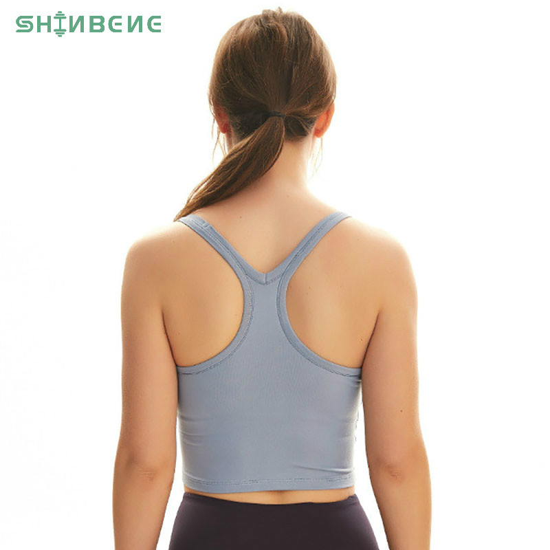 SHINBENE Plain Racerback Yoga Fitness Crop Tops Women Cotton Feel Padded Sport Bras Tank Tops With Removable Chest Pads Size4-12