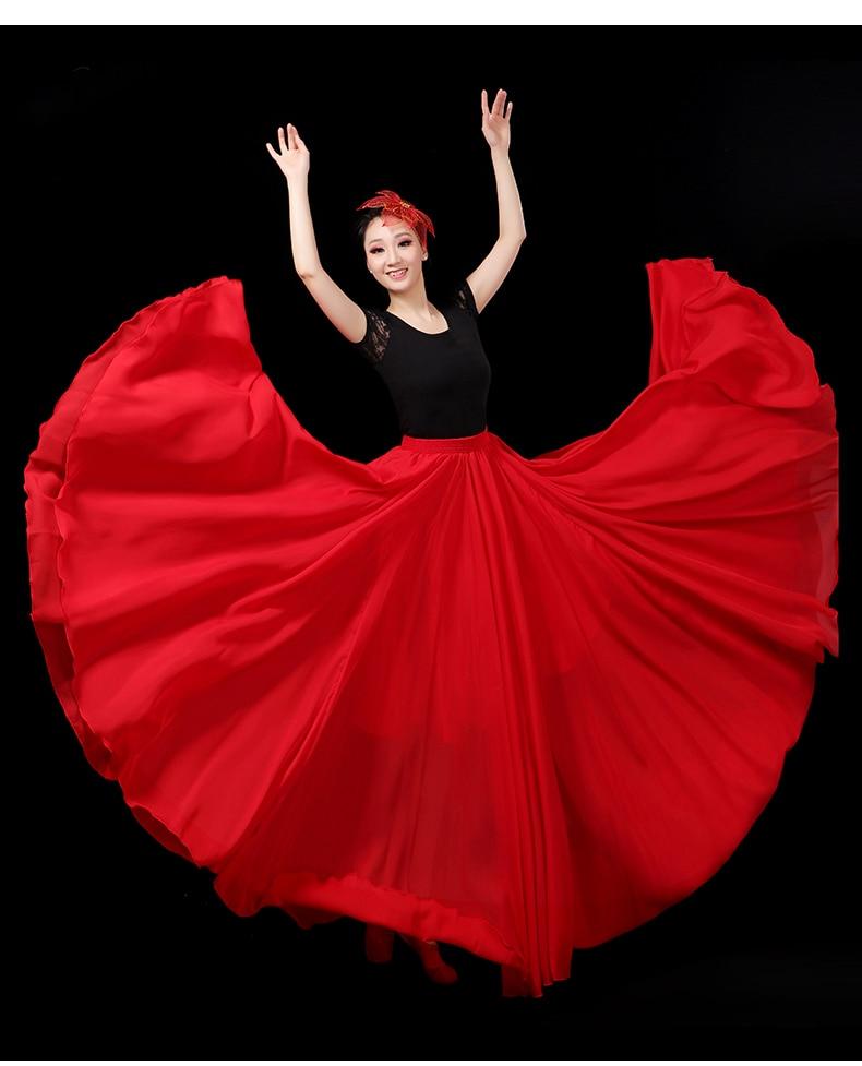 2020 Adult Female Chiffon Flamenco Dance Long Skirt Spanish Dancing Performance Costume Women Classic Gypsy Belly Dance Dress
