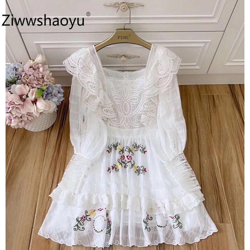 Ziwwshaoyu Runway Vintage Summer Party Lantern Sleeve Hollow Out Embroidery Jacquard Ruffles White Cotton Short Dress Women's
