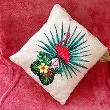 """Откидная блестящая Подушка """"фламинго"""" 40 см, мягкая подушка, блестящая Подушка с фламинго, животные, диванная подушка для детей, подарки для малышей"""