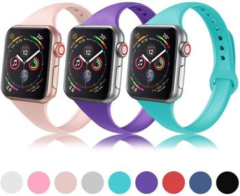 Slim strap for Apple watch band 40mm 44mm 38mm 42mm soft Sport Silicone wrsit belt bracelet iWatch series 1 2 3 4 5 6 se bands soft silicone sport band for apple watch series 2 replacement strap for apple iwatch two colors sport band joyozyluxury bands
