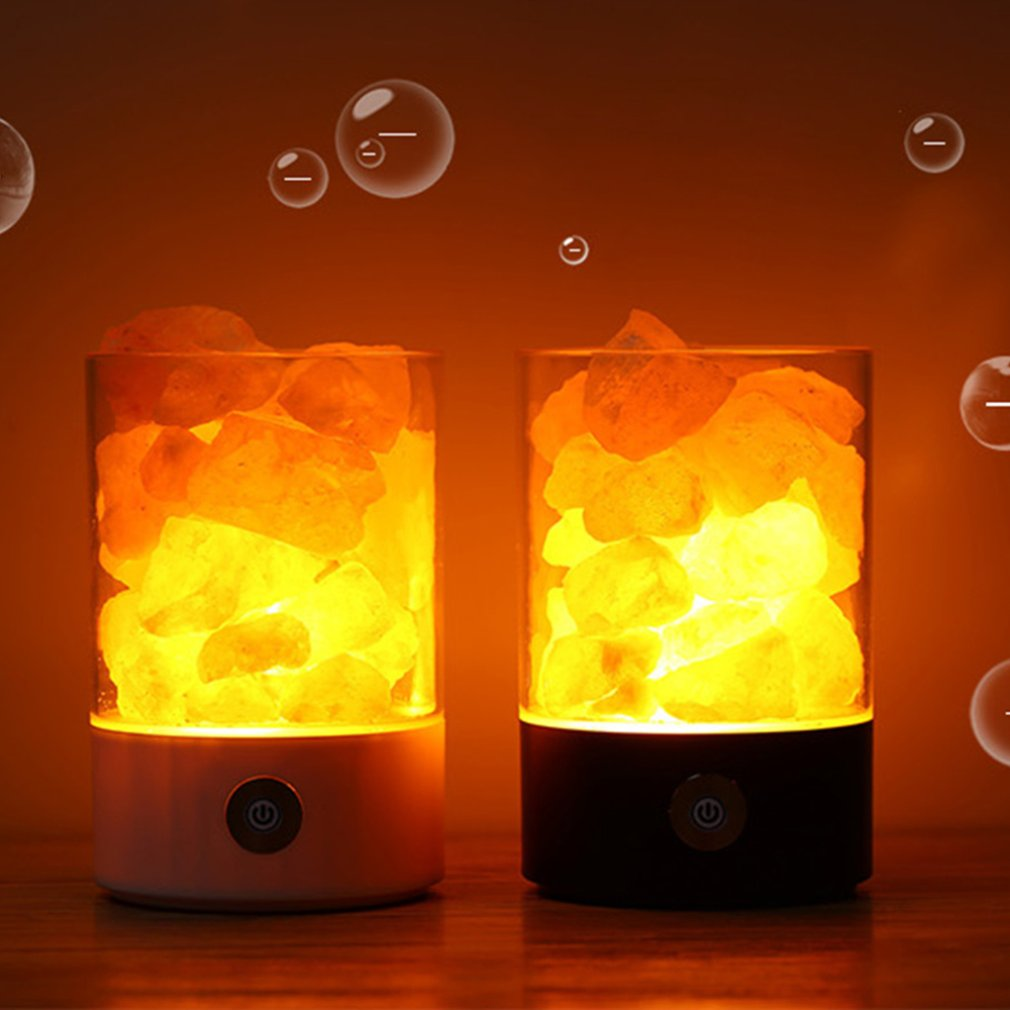 Salt Lamp Himalayan Crystal Salt Stone Lamp Negative Ion Air Purification Lamp Sleep Aid Square Round Lamp
