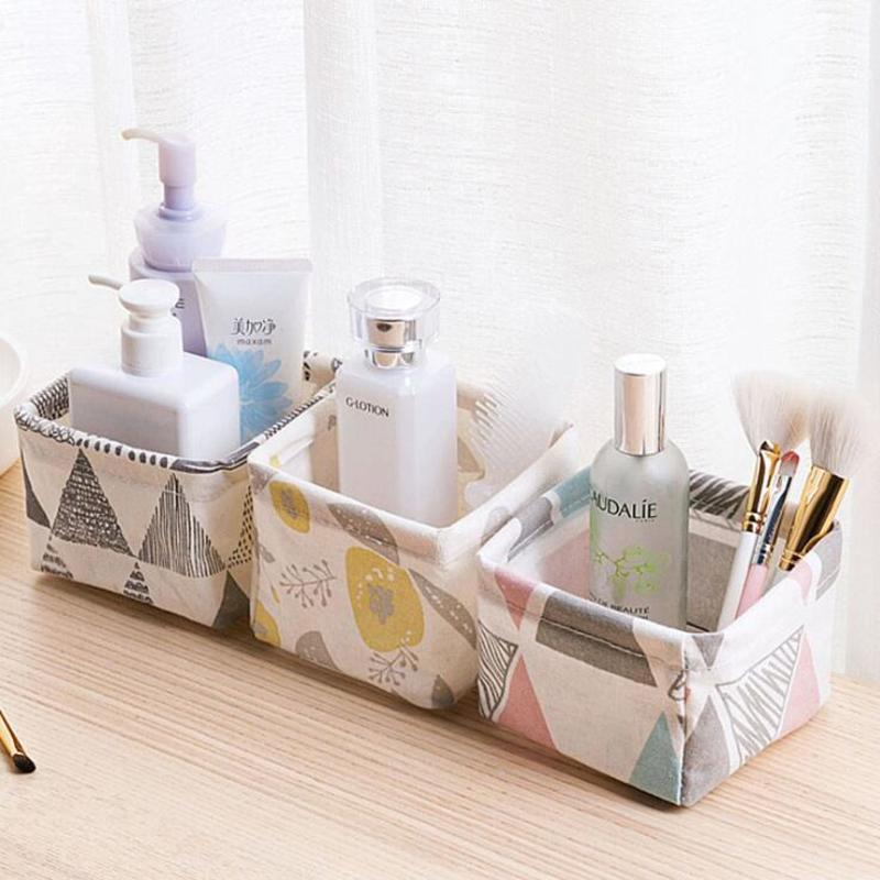 Image 5 - Foldable Sundries Storage basket Cute Printing Cosmetics Container Multifunction Cotton Linen Storage Basket Desktop organizer-in Storage Baskets from Home & Garden