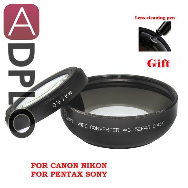 Pixco 52mm 0.45X Wide Angle Lens com suit Macro Para Canon Nikon Sony Pentax Panasonic (Preto) + com Lente Caneta de Limpeza