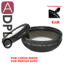 Pixco 52mm 0.45X Wide Angle Lens with Macro suit For Canon Nikon Pentax Sony Panasonic (Black)+ with Lens Cleaning Pen