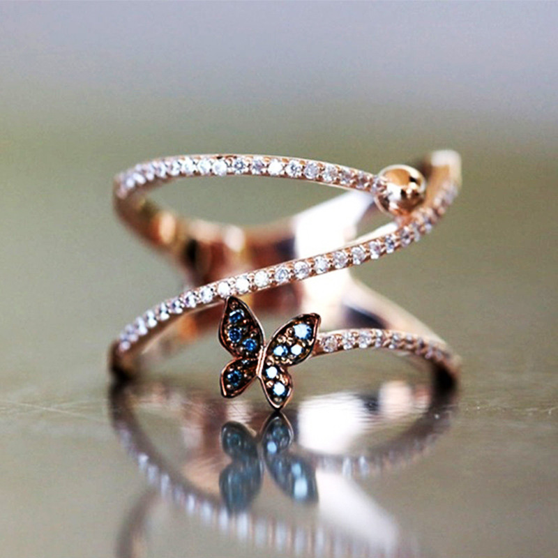 Huitan Fashion Butterfly Shaped Finger Ring For Women Luxury Rose Gold Color Accessorie Jewelry Korean Version Twist Knucle Ring