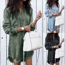 Джинсовые женские повседневные блузки на пуговицах с длинным