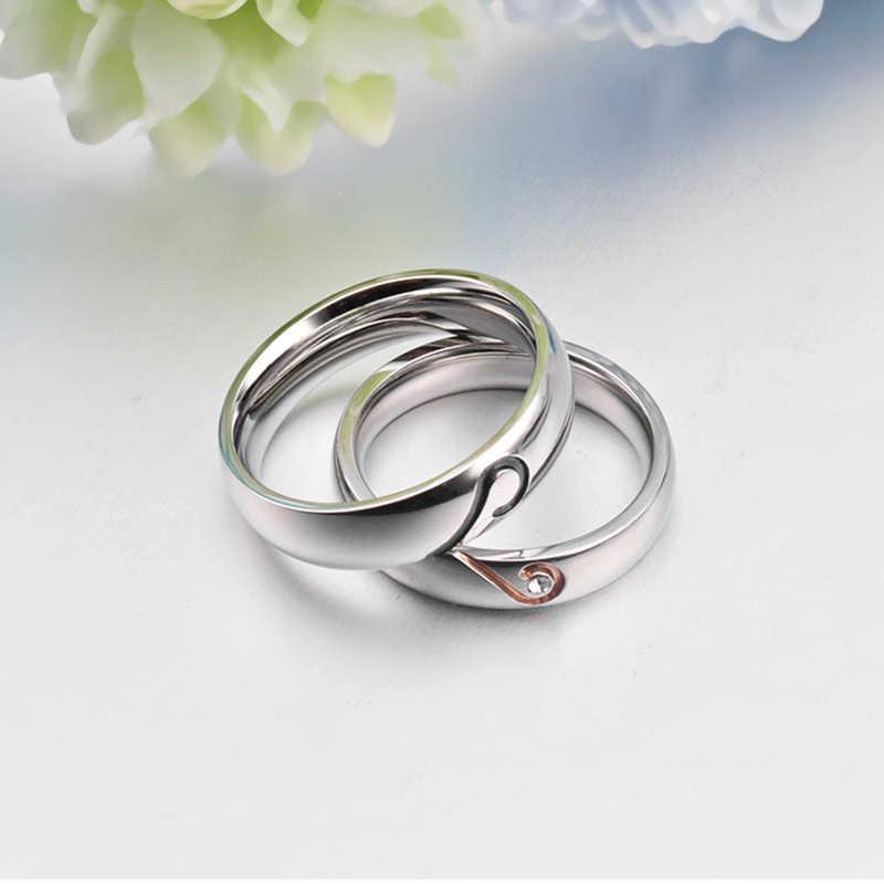 Anneaux en acier inoxydable argent demi-coeur Simple cercle anneaux Couple romantique réel amour bijoux Zircon bague de fiançailles femmes hommes