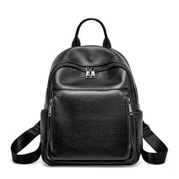 schoolbag backpack small solid backpack shoulder bag day bag genuine leather mini backpack women