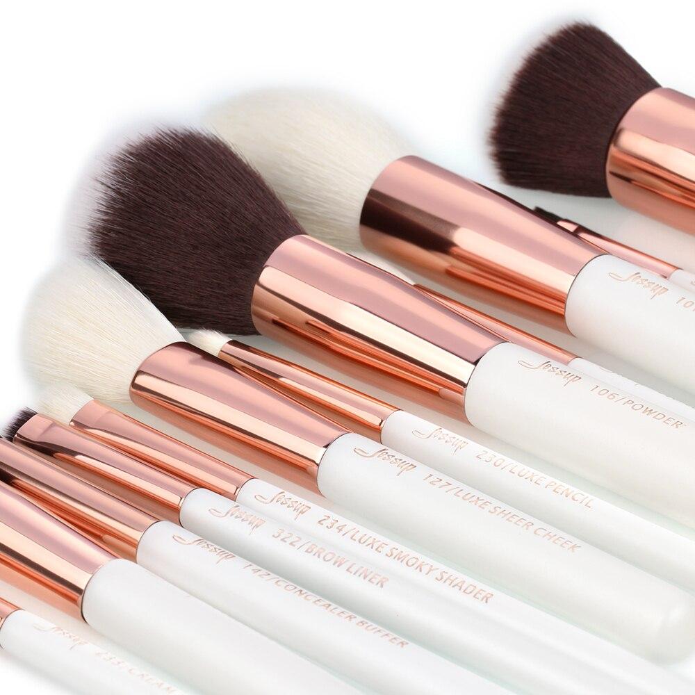 Jessup pincéis de maquiagem 15 pçs branco