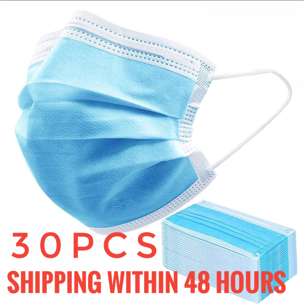 30pcs Disposable Mask Nonwove 3 Layer Mask Anti-Dust Mask Earloop Masks Anti-dust Virus Safe