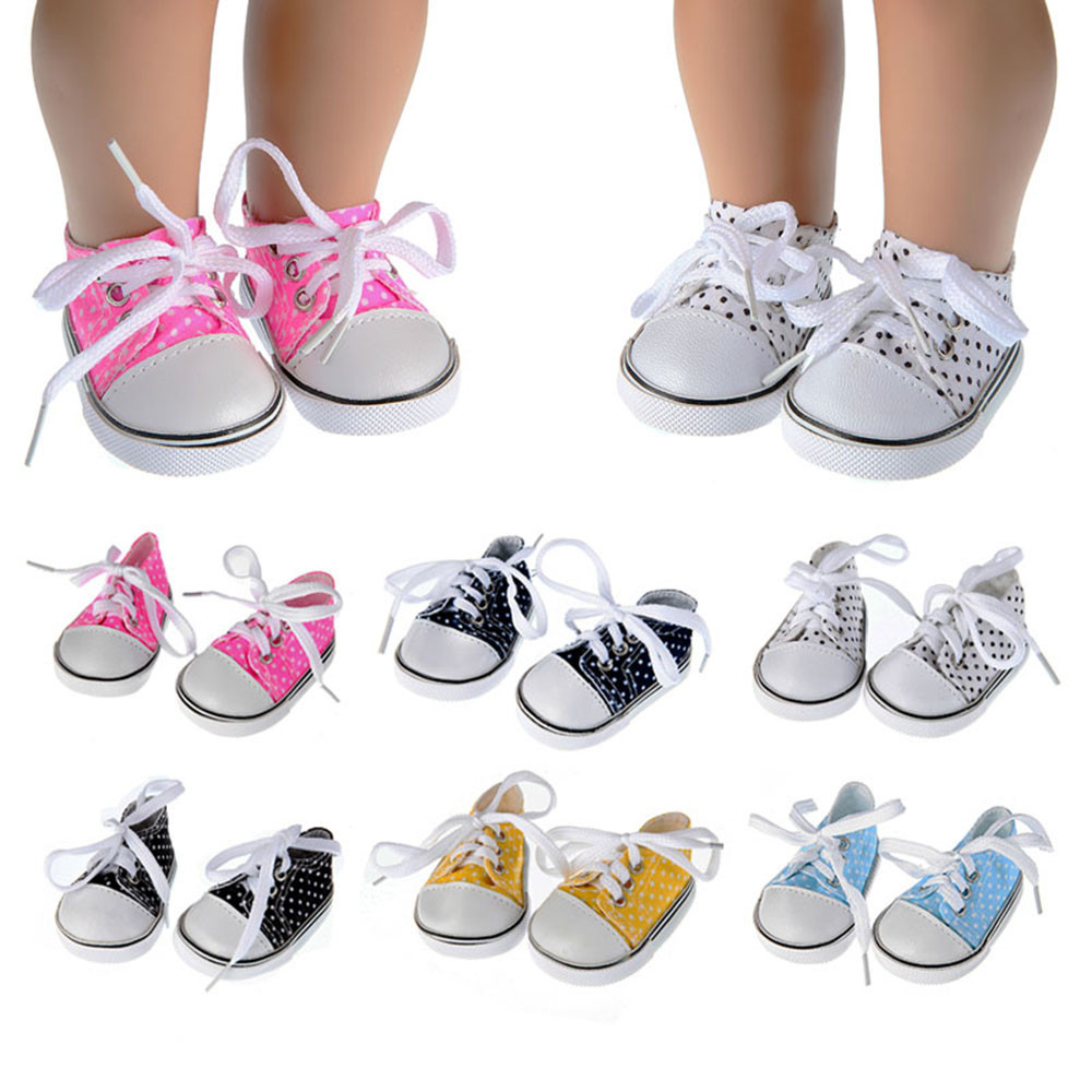 New Arrival 18 Inch Height Girl Doll Shoes Canvas Lace Up Sneakers White Black Blue Shoes For 43cm Born Baby Dolls Accessories