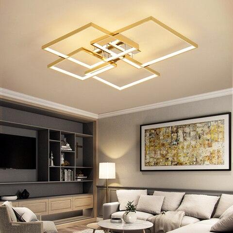 quadrado moderno led lustre para sala de estar quarto sala de estudo ouro cromo chapeado