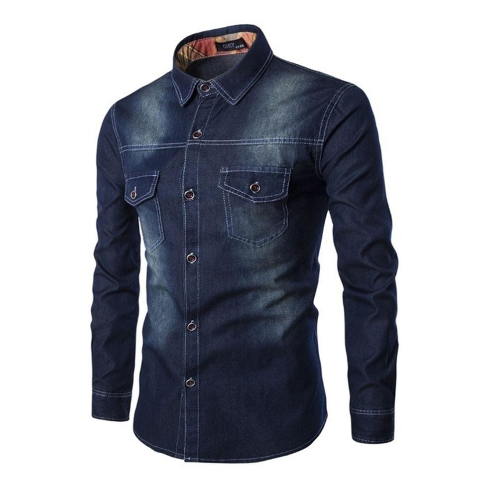 ZOGAA Men Denim Jean Shirts Men's Cowboy Shirt Casual Classic Jeans Shirt