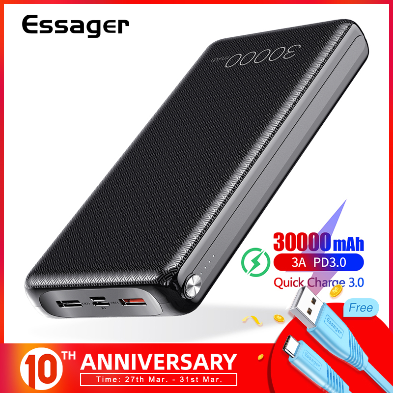 Essager 30000mAh Power Bank Quick Charge 3.0 PD USB C 30000 Mah Powerbank For Xiaomi Mi IPhone Portable External Battery Charger