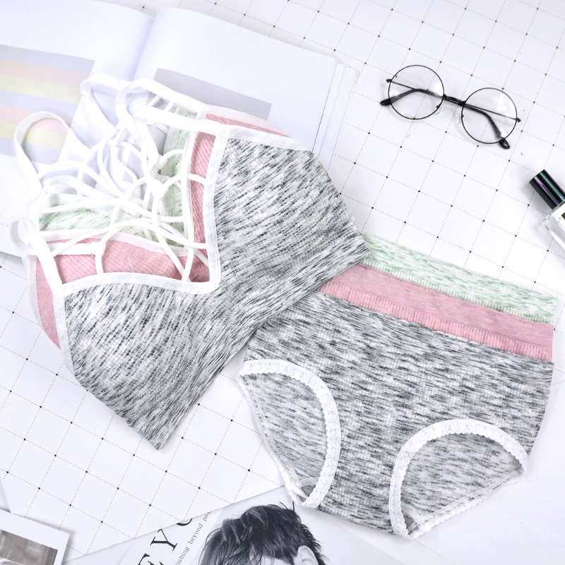 Хлопковый женский спортивный комплект нижнего белья, женский бюстгальтер, комплект нижнего белья с эффектом пуш-ап, беспроводной бюстгальт... 15