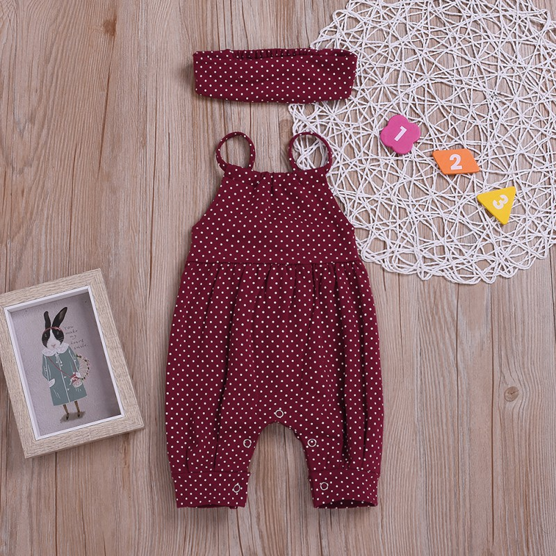 Baby Jumpsuits Baby Girl Polka Dot Sleeveless Sling Rompers+Headband 2pc Clothes For Toddler Kids