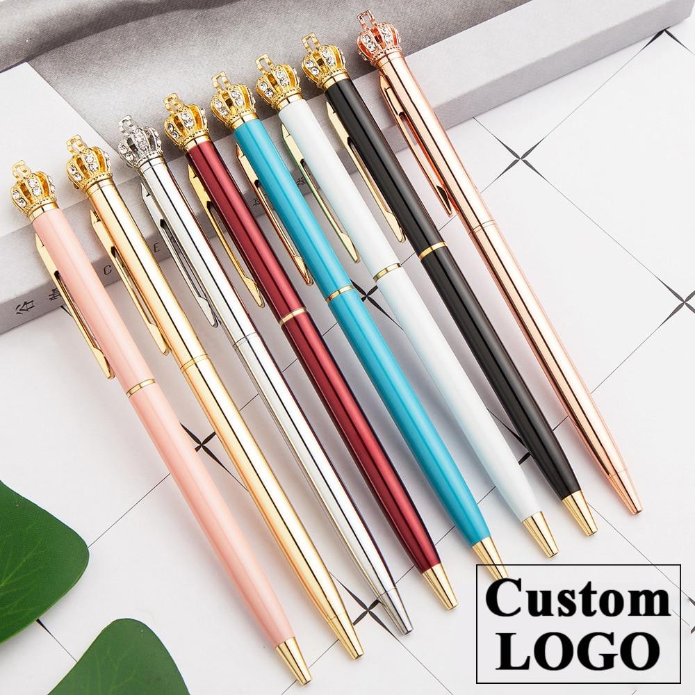 Crown Metal Ballpoint Pen Promotional Gifts Crystal Pen Luxury Customized Logo Ballpoint Pen Wedding Birthday Gift Engraved Name